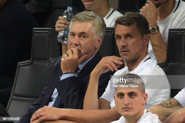 Carlo Ancelotti and Paolo Maldini look during Andrea Pirlo Farewell Match at Stadio Giuseppe Meazza on May 21 2018 in Milan Italy