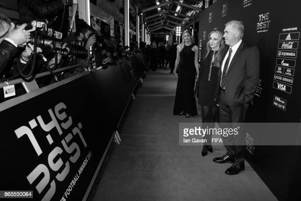 Carlo Ancelotti and wife Mariann Barrena McClay arrives on the green carpet for The Best FIFA Football Awards at The London Palladium on October 23...