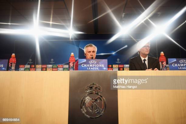 Carlo Ancelotti coach of Bayern Muenchen talks during a press conference at Estadio Santiago Bernabeu on April 17 2017 in Madrid Spain