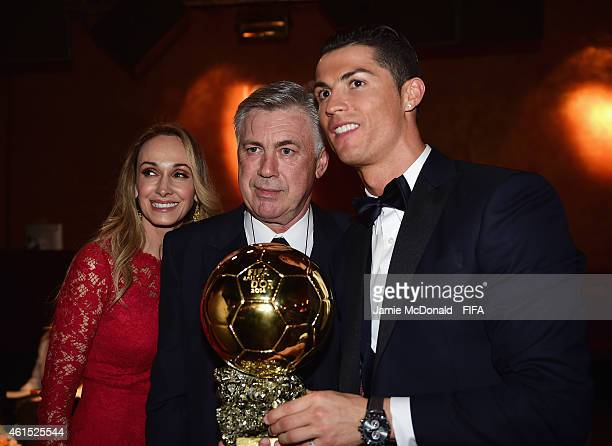 Carlo Ancelotti coach of Real Madrid and wife Mariann Barrena McClay pose with FIFA Ballon d'Or winner Cristiano Ronaldo of Portugal and Real Madrid...
