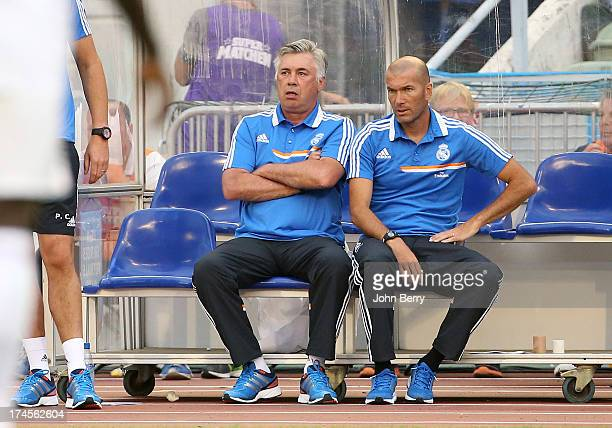 Carlo Ancelotti coach of Real Madrid and Zinedine Zidane assistantcoach of Real Madrid during the friendly match between Real Madrid and Paris...