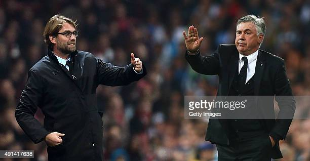 Carlo Ancelotti, coach of Real Madrid gives instructions during the UEFA Champions League semi-final first leg match between Real Madrid and FC...