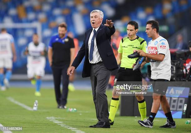 Carlo Ancelotti coach of SSC Napoli gestures during the Serie A match between SSC Napoli and UC Sampdoria at Stadio San Paolo on September 14 2019 in...