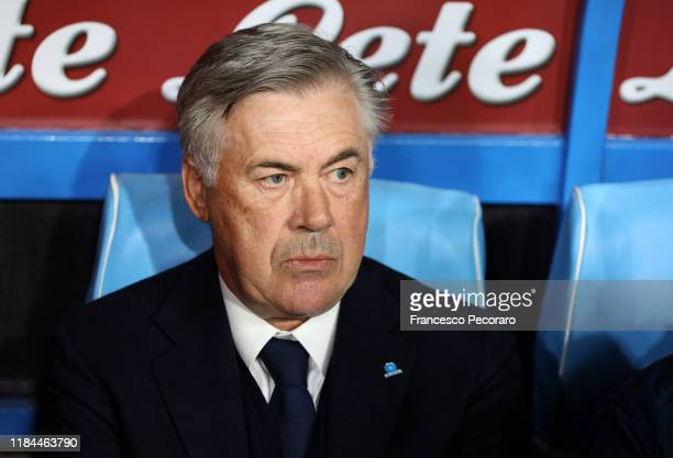 Carlo Ancelotti coach of SSC Napoli looks on before the Serie A match between SSC Napoli and Atalanta BC at Stadio San Paolo on October 30 2019 in...