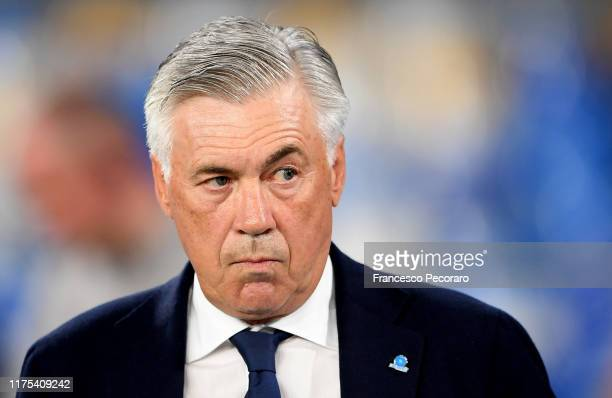 Carlo Ancelotti coach of SSC Napoli looks on before the UEFA Champions League group E match between SSC Napoli and Liverpool FC at Stadio San Paolo...