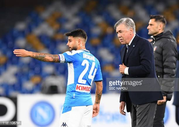 Carlo Ancelotti during the Serie A match between SSC Napoli and Genoa CFC at Stadio San Paolo on November 9 2019 in Naples Italy