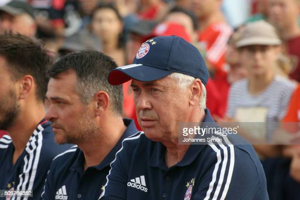 Carlo Ancelotti head coach of Bayern and assistant coach Willy Sagnol look on prior to the preseason friendly match between BCF Wolfratshausen and...