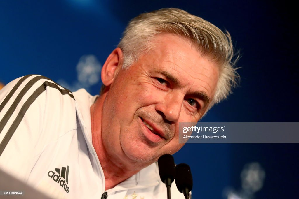 Carlo Ancelotti, head coach of Bayern Muenchen talks during a press conference ahead of the UEFA Champions League Group B match against Paris Saint Germain (PSG) at Parc des Princes on September 26, 2017 in Paris, France.