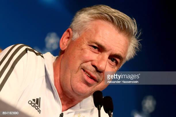 Carlo Ancelotti head coach of Bayern Muenchen talks during a press conference ahead of the UEFA Champions League Group B match against Paris Saint...