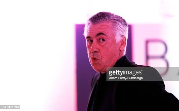 Carlo Ancelotti head coach of Bayern Munich before the Bundesliga match between FC Bayern Muenchen and 1 FSV Mainz 05 at Allianz Arena on September...