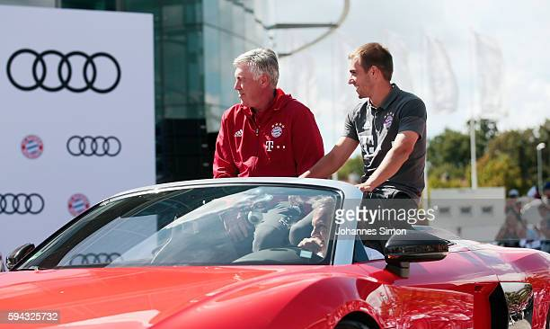 Carlo Ancelotti head coach of FC Bayern and Philipp Lahm arrive for the official car handover at Audi Forum on August 22 2016 in Ingolstadt Germany