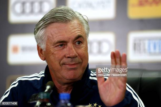 Carlo Ancelotti head coach of FC Bayern Muenchen attends a press conference at Shenzhen Universiade Sports Centre during the Audi Summer Tour 2017 on...