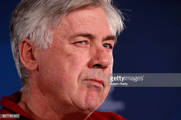 Carlo Ancelotti head coach of FC Bayern Muenchen look on during a press conference ahead of the UEFA Champions League group D match against Atletico...