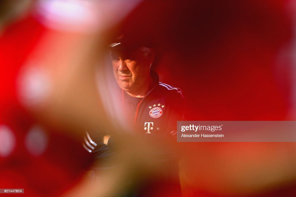 Carlo Ancelotti, head coach of FC Bayern Muenchen looks on during a training session at Geylang Field during the Audi Summer Tour 2017 on July 24, 2017 in Singapore.
