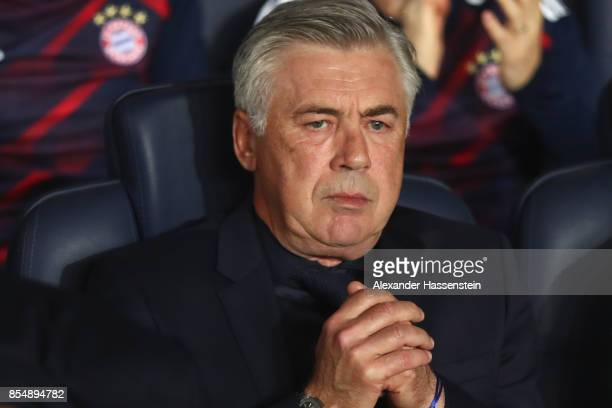 Carlo Ancelotti head coach of FC Bayern Muenchen looks on prior to the UEFA Champions League group B match between Paris SaintGermain and Bayern...