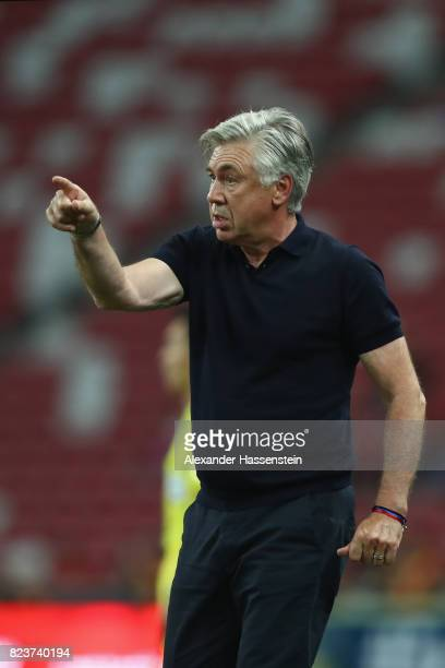 Carlo Ancelotti head coach of FC Bayern Muenchen reacts during the International Champions Cup 2017 match between Bayern Muenchen and Inter Milan at...