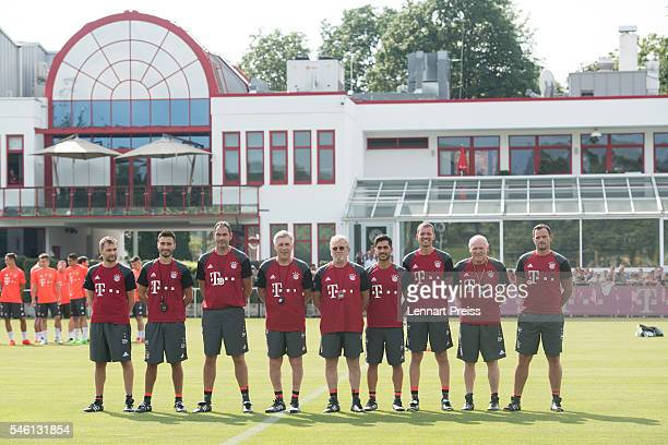 Carlo Ancelotti head coach of FC Bayern Munich and his coaching staff fitness coach Francesco Mauri assistant coach Davide Ancelotti assistant coach...