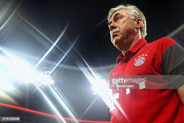 Carlo Ancelotti, head coach of Muenchen looks on after the pre season friendly match between Bayern Muenchen and Manchester City F.C at the Allianz...