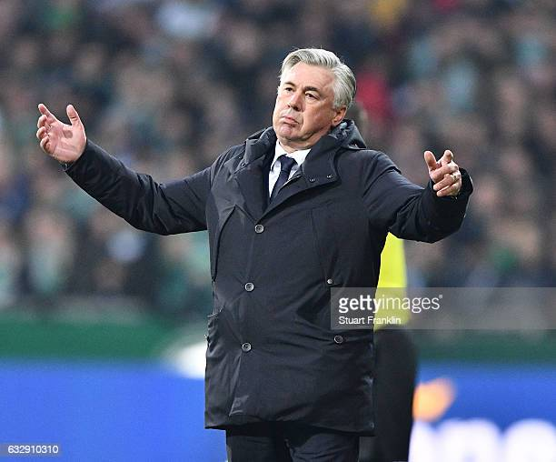 Carlo Ancelotti head coach of Muenchen reacts during the Bundesliga match between Werder Bremen and Bayern Muenchen at Weserstadion on January 28...