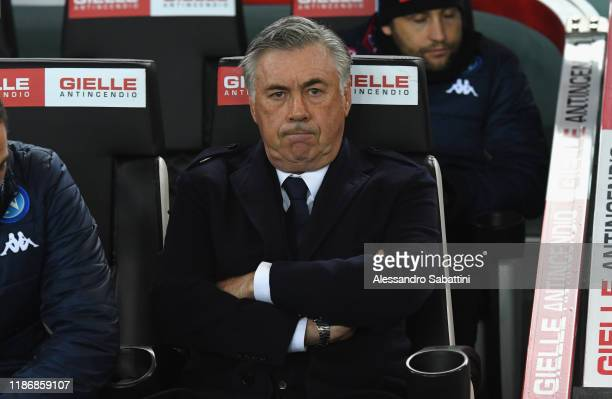 Carlo Ancelotti head coach of SSC Napoli looks on during the Serie A match between Udinese Calcio and SSC Napoli at Stadio Friuli on December 7 2019...
