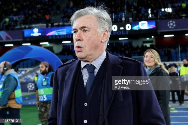 Carlo Ancelotti head coach of SSC Napoli looks on during the UEFA Champions League group E match between SSC Napoli and KRC Genk at Stadio San Paolo...