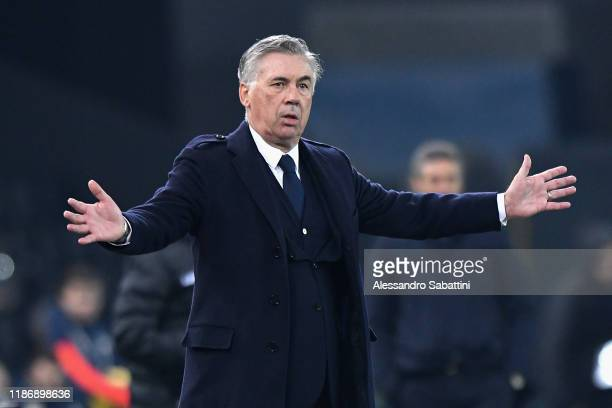 Carlo Ancelotti head coach of SSC Napoli reacts during the Serie A match between Udinese Calcio and SSC Napoli at Stadio Friuli on December 7 2019 in...