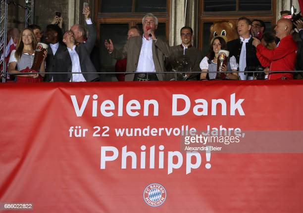 Carlo Ancelotti Manager of Bayern Muenchen speaks to the fans after winning the 67th German Championship title on the town hall balcony at...