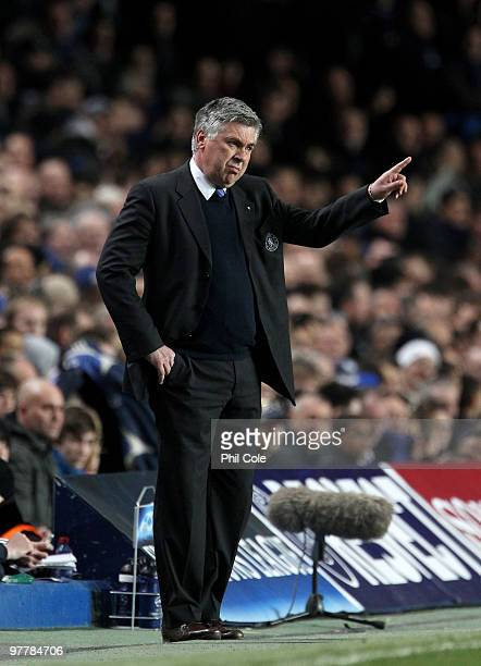 Carlo Ancelotti Manager of Chelsea gives instructions during the UEFA Champions League Round of 16 second leg match between Chelsea and Inter Milan...