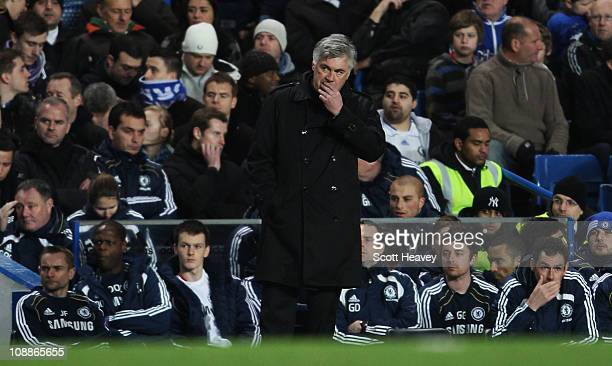 Carlo Ancelotti manager of Chelsea looks dejected during the Barclays Premier League match between Chelsea and Liverpool at Stamford Bridge on...