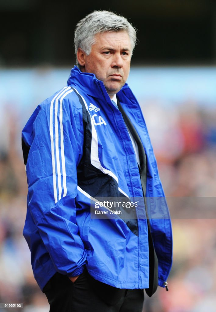 Carlo Ancelotti manager of Chelsea looks thoughtful during the Barclays Premier League match between Aston Villa and Chelsea at Villa Park on October 17, 2009 in Birmingham, England.