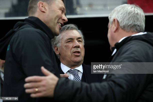 Carlo Ancelotti Manager of Everton and Duncan Ferguson assistant manager of Everton greet Steve Bruce Manager of Newcastle United prior to the...