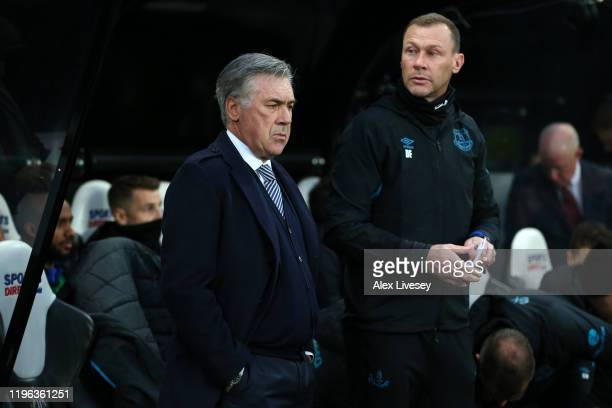Carlo Ancelotti Manager of Everton and Duncan Ferguson assistant manager of Everton look on prior to the Premier League match between Newcastle...