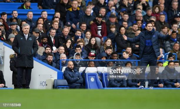 Carlo Ancelotti Manager of Everton and Frank Lampard Manager of Chelsea react during the Premier League match between Chelsea FC and Everton FC at...
