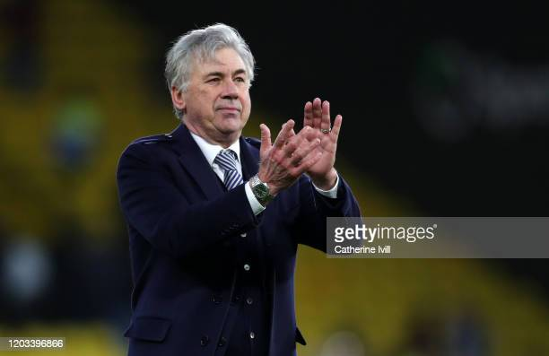 Carlo Ancelotti manager of Everton applauds after the Premier League match between Watford FC and Everton FC at Vicarage Road on February 01 2020 in...