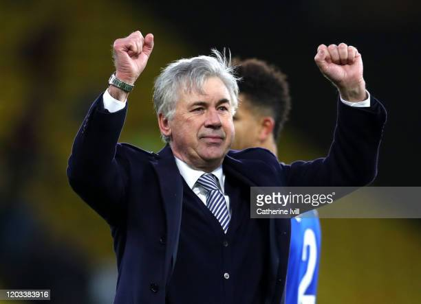 Carlo Ancelotti Manager of Everton celebrates victory after the Premier League match between Watford FC and Everton FC at Vicarage Road on February...