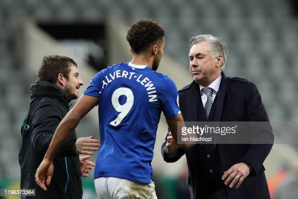 Carlo Ancelotti Manager of Everton celebrates with Dominic CalvertLewin of Everton following their sides victory in the Premier League match between...