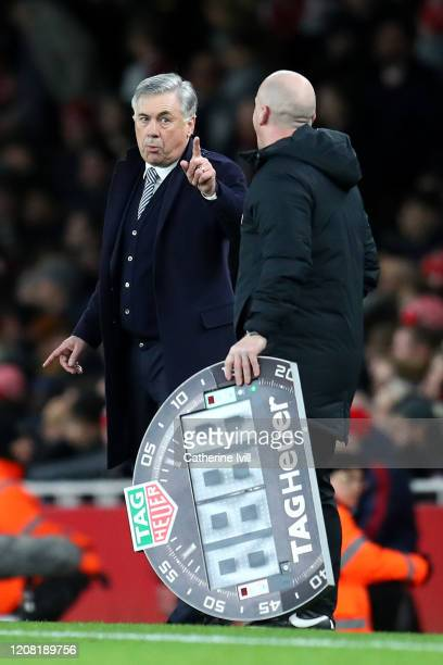 Carlo Ancelotti Manager of Everton chats with the Fourth official during the Premier League match between Arsenal FC and Everton FC at Emirates...