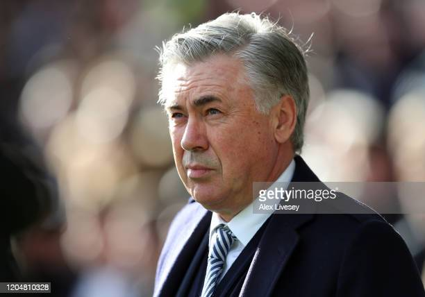 Carlo Ancelotti Manager of Everton during the Premier League match between Everton FC and Crystal Palace at Goodison Park on February 08 2020 in...