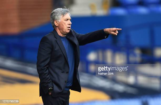 Carlo Ancelotti manager of Everton gestures during the pre-season friendly match between Everton and Preston North End at Goodison Park on September...
