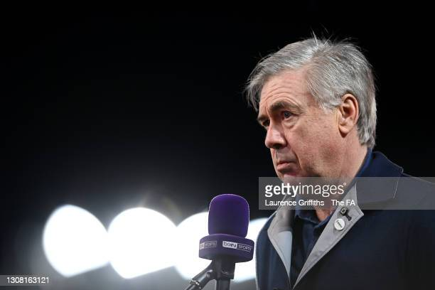 Carlo Ancelotti, Manager of Everton is interviewed following the The Emirates FA Cup Quarter Final match between Everton and Manchester City at...