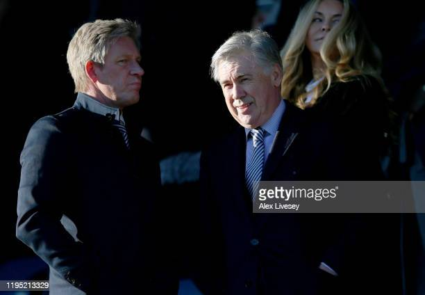 Carlo Ancelotti, Manager of Everton is seen in the stands prior to the Premier League match between Everton FC and Arsenal FC at Goodison Park on...