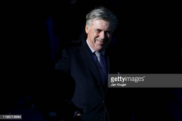 Carlo Ancelotti Manager of Everton is seen in the stands prior to the Premier League match between Everton FC and Arsenal FC at Goodison Park on...