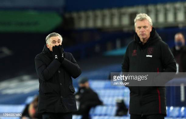 Carlo Ancelotti, manager of Everton looks dejected during the Premier League match between Everton and West Ham United at Goodison Park on January...