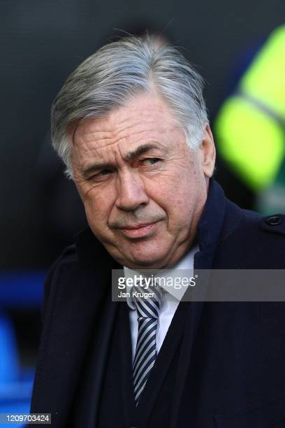 Carlo Ancelotti Manager of Everton looks on during the Premier League match between Everton FC and Manchester United at Goodison Park on March 01...