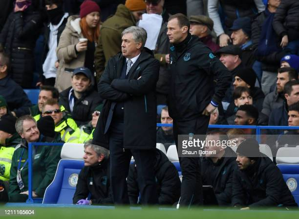 Carlo Ancelotti Manager of Everton looks on during the Premier League match between Chelsea FC and Everton FC at Stamford Bridge on March 08 2020 in...