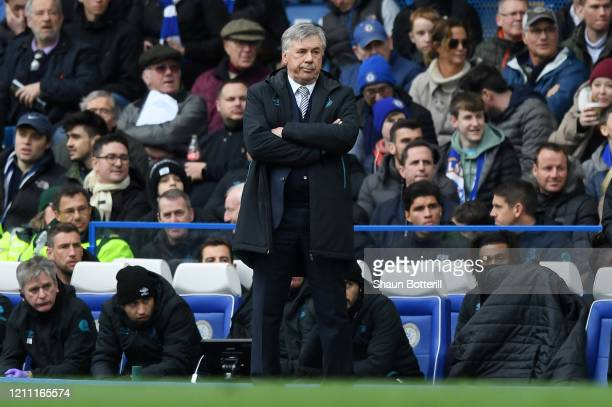 Carlo Ancelotti Manager of Everton reacts during the Premier League match between Chelsea FC and Everton FC at Stamford Bridge on March 08 2020 in...