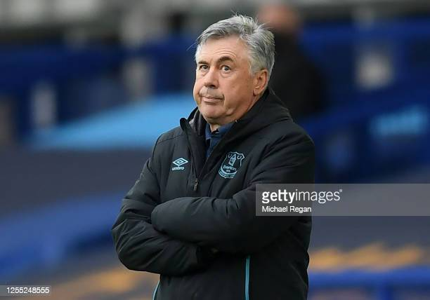 Carlo Ancelotti, Manager of Everton reacts during the Premier League match between Everton FC and Southampton FC at Goodison Park on July 09, 2020 in...