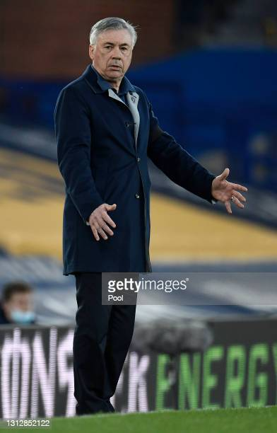 Carlo Ancelotti, Manager of Everton reacts during the Premier League match between Everton and Tottenham Hotspur at Goodison Park on April 16, 2021...