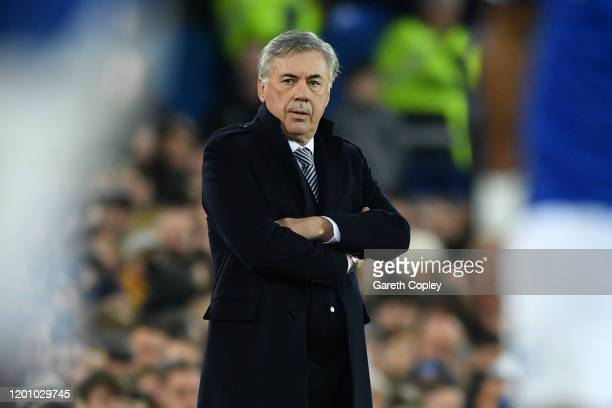 Carlo Ancelotti Manager of Everton reacts the Premier League match between Everton FC and Newcastle United at Goodison Park on January 21 2020 in...