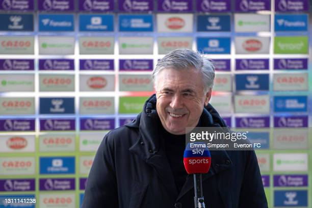 Carlo Ancelotti manager of Everton speaks to the media before the Premier League match between Everton and Crystal Palace at Goodison Park on April 5...